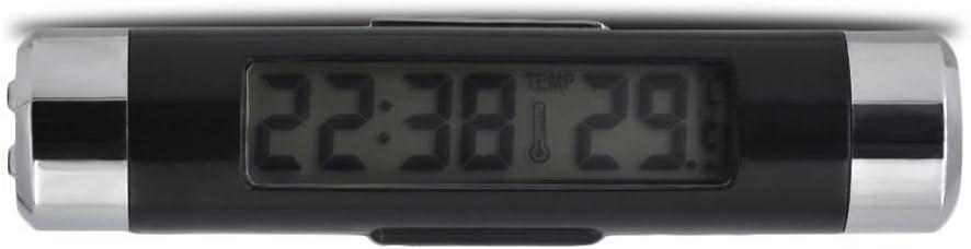 WOVELOT 2 in 1 Sfogo Presa Clip sopra Auto Blu LED Retroilluminazione Temperatura Digitale e termometro Display Orologio Accessori Auto Orologio Digitale