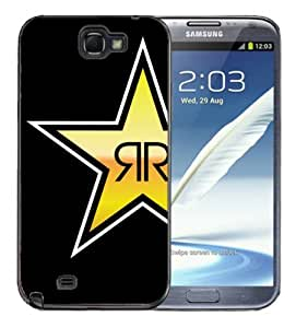 Samsung Galaxy Note 2 Black Rubber Silicone Case - Rock Star Black Yellow Rock