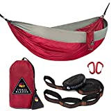 Trailblazer Outdoor Premium Double Camping hammocks - Parachute Nylon, Portable and Lightweight with Tree Friendly Straps and carabiners Included - Quality Gear for Your Outdoor Adventures.