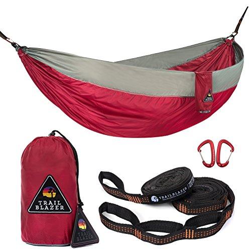 Trailblazer Outdoor Ripstop Swing Bed Double Nest 4 Seasons Hammock (Red_Gray) (Bed Swing Outdoor)