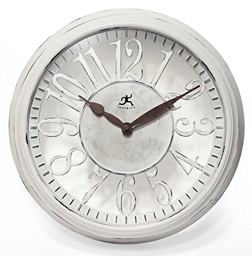 Infinity Instruments 15308WW-AR Chalet White - Resin White Clock
