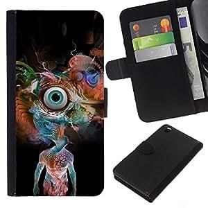 YiPhone /// Tirón de la caja Cartera de cuero con ranuras para tarjetas - Psychedelic Snake Eye - HTC DESIRE 816