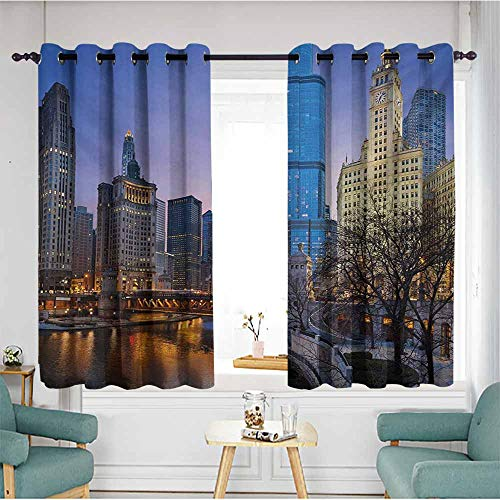 (AndyTours Kids Curtains,Landscape USA Chicago Cityscape with Rivers Bridge and Skyscrapers Cosmopolitan City Image,for Bedroom Grommet Drapes,W55x45L,Multicolor)