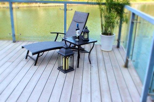 (Pebble Lane Living Rust Proof Aluminum Quick Dry Padded Chaise Adjustable Folding Lounger - Black)