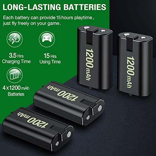 ESYWEN Rechargeable Battery Packs for Xbox One/Xbox Series X|S, 4 X 1200mAh Xbox One Controller Battery Packs, Rechargeable Batteries with Charging Station for Xbox One/One S/One X/One Elite 51fFW9jBdCL