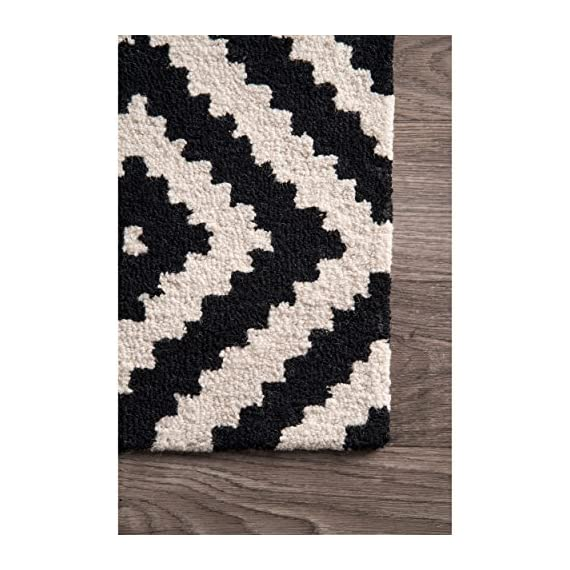 """nuLOOM Kellee Contemporary Wool Runner Rug, 2' 6"""" x 8', Black - Features a geometric design Construction: machine made Material is 100% polypropylene Frisee - runner-rugs, entryway-furniture-decor, entryway-laundry-room - 51fFWHQ1W3L. SS570  -"""