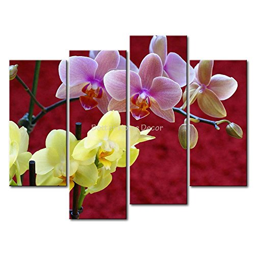 Red YEHO Art Gallery Painting Yellow And Pink Orchids Print