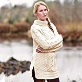 Carraig Donn Ladies 100% Merino Wool Vented Roll Neck Jumper, Natural Colour