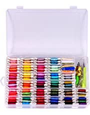 Embroidery Floss 125pcs Embroidery thread string Kits 100%Cotton Bracelets string ,Metallic Thread ,Colorful Wool Roving and Floss Bobbins Cross Stitch Tool Kit With Organizer Storage Box