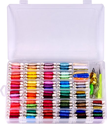 - Embroidery Floss & Bracelet String Kits with Organizer Storage Box-Cross Stitch Threads Set-Friendship Bracelets Floss-Crafts Floss-84 Cotton Floss 6 Metallic Thread,Colorful Wool Roving,Tool Kits