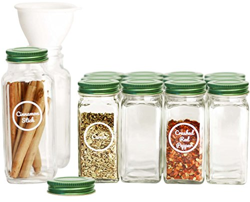 SpiceLuxe Premium Spice Jar Set -14 Empty Square Glass Jars, Green Metal Airtight Lids, 100 Spice Labels, Easy Pour Funnel, and Shaker Tops - Decorative Containers Organize Your Spice Rack or Pantry ()