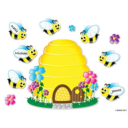Ashley Productions ASH77024 Magnetic Bee Hive & Bees Mini Bulletin Board Set, 25 Pieces ()