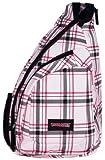 Pink Plaid Cross Body Sling Messenger Backpack / Outdoor Daypack Bag