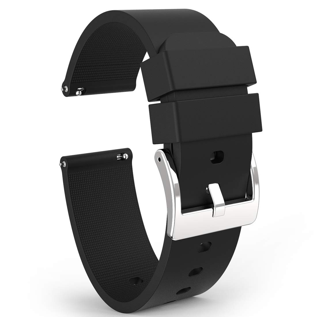 Wellfit Watch Strap Soft Silicone Quick Release Watch Band Stainless Steel Buckle Choose Color & Width 18mm 20mm 22mm Silky Smooth Rubber Watch Bands