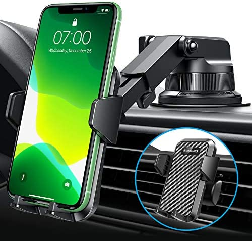 [2021 Enhanced Patented Sticky Suction Cup] VANMASS Universal Car Phone Mount, Safety Cert Easy Clamp Dash Windshield Vent Phone Holder for Car, Compatible iPhone 12 11 SE Xs XR X, Galaxy s20 10 9