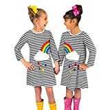 0-5 Years Old, New Infant Toddler Baby Girls Striped Rainbow Print Party Dress Clothes Dresses (Gray, Age:4-5T)