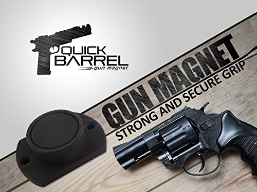 Quick Barrel Gun Magnet | Powerful Neodymium Safe Holster With Protective Coating For Shotguns, Rifles, Firearms, Handguns, Pistols Up To 25Lbs | For Cars, Trucks, Under Desk, Nightstand, Bed & More
