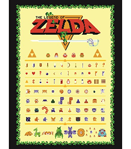 The Legend of Zelda Retro Style Poster - Nes Link and Zelda + More