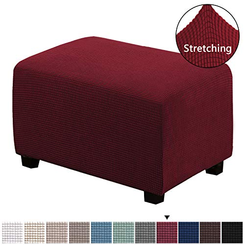 H.VERSAILTEX 1 Piece Form Fit Storage Ottoman Protect Covers for Living Room Footstool Footrest Covers Stretch Ottoman Slipcovers Removable Footstool Covers, 30 x 25 x 18 inches, Burgundy, Large Size