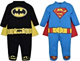 Batman and Superman Baby Boys' 2 Pack Costume Coverall Pajamas