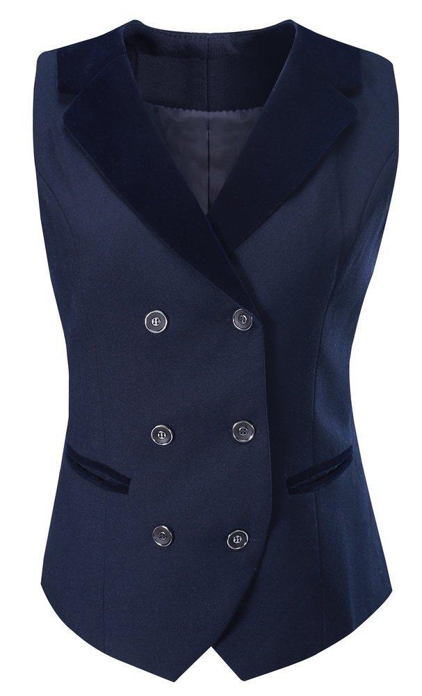 Vocni Women Breasted Lapels Slim Fit Uniform Suit Waistcoat Dressy Vest Blue US M(Asia 3XL) (Fit Bust 38.2''-40.6'')