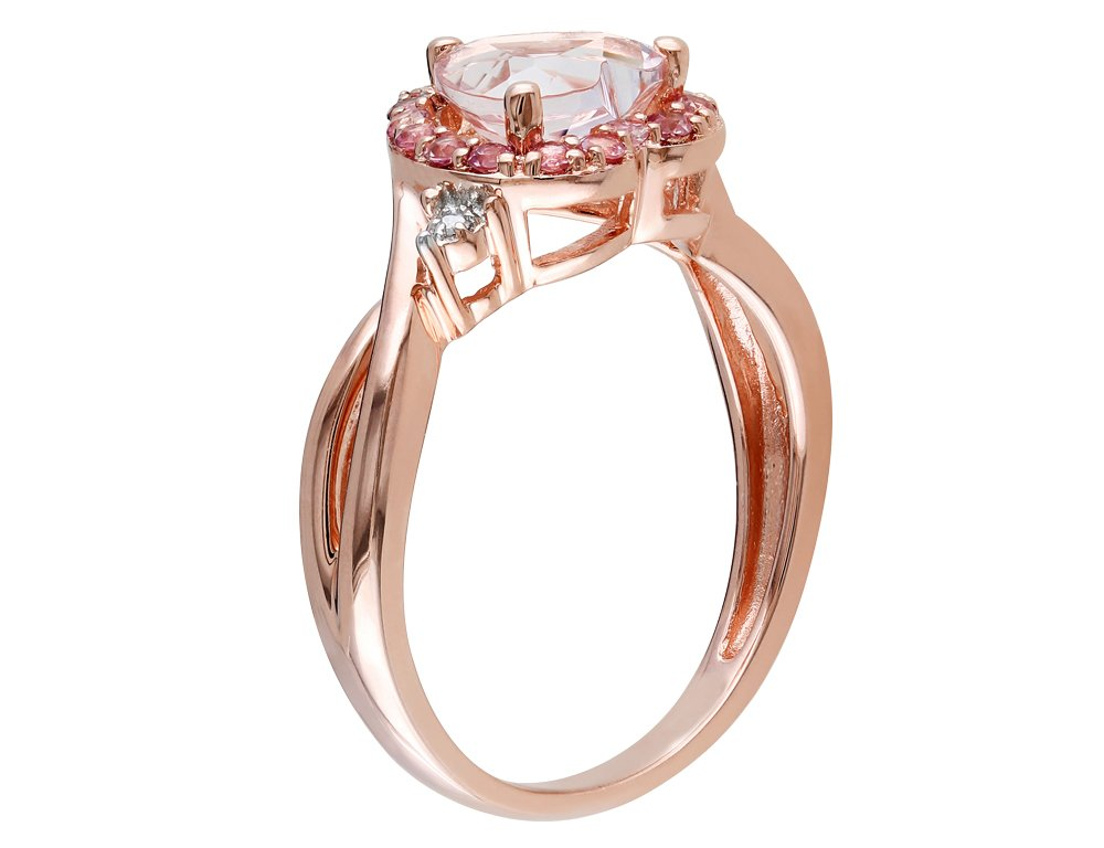 Morganite Heart Ring with Pink Tourmaline and Diamond in Rose Sterling Silver by Gem And Harmony (Image #2)