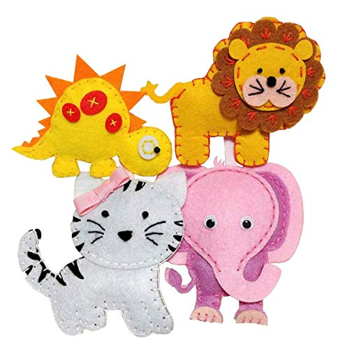 (MP Happy Felties 4 Pack # 2 - Felt Animal Crafting Sewing Kit and Animal Crafts- Fun DIY Stuffed Animal Craft and Sew Kits for Kids Boys and)