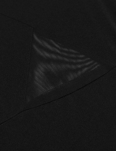Pacchetto Rigonfiamenti Nero Vedere Vestito Dell'anca Donne Delle Attraverso Con Patchwork Casuale Manica V Lunga A Scollo Del Sexy Maglia xFrF1qUY