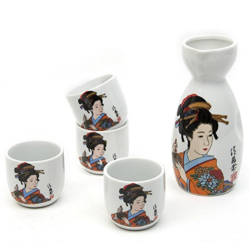 Japanese Sake Set, 5 Pieces Sake Set Hand Painted Design Porcelain Pottery Traditional Ceramic Cups Crafts Wine Glasses ()