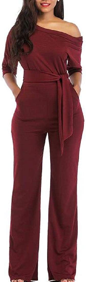 CRYYU Women One Shoulder 1//2 Sleeve Solid Wide Leg Jumpsuit Romper with Pockets