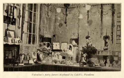 1926 Print Valentine's Day Party Favors Window Display Gulck's Pasadena Store - Original Halftone - Pasadena Store