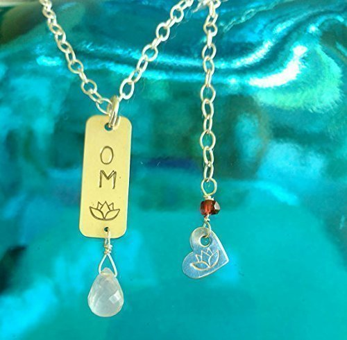(GOOD VIBE Necklace, OM Bar Tag Pendant in Sterling Silver with Rose Quartz Briolette, Meditation Jewelry, Yoga Inspired Jewelry, Gift for Her)