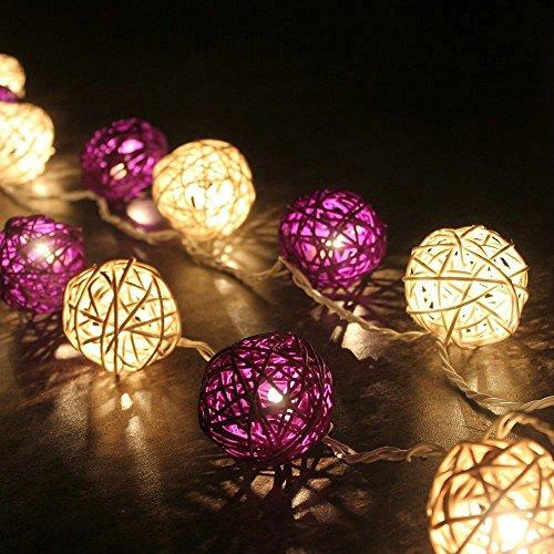 - 9.8 Feet 20 tungsten filament Ball Fairy String Lights Plug in, Flexible Romantic Warm Lighting for Home Decor (Purple)