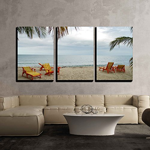 Wall26   3 Piece Canvas Wall Art   Beach And Sun Beds Near The Pacific Ocean In Belize   Modern Home Decor Stretched And Framed Ready To Hang   24 X36 X3 Panels
