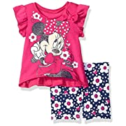 Disney Baby Girls' Minnie Mouse Bike Short Set with Fashion Top, Pink, 0-3 Months