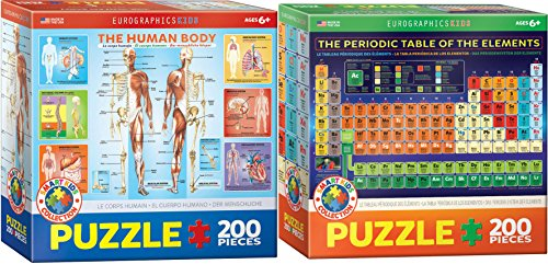 Kids Science Puzzle Set - Two 200 Piece Jigsaw Puzzles - The Human Body and Periodic Table of the Elements