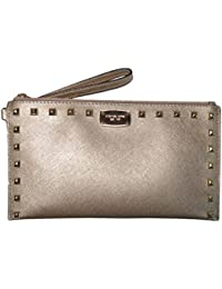 Micheal Kors Sandrine Stud Leather Large Zip Clutch Wristlet Pale Gold