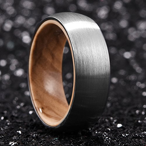 King Will Nature 8mm Men's Tungsten Carbide Ring Brushed Dome Wedding Band with Wood Inlay Comfort Fit(10.5) by King Will (Image #1)