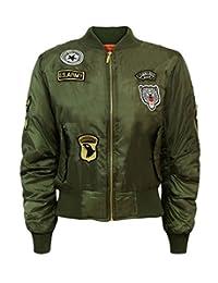 Women Ladies Classic Amry Style Bomber & Plain Jacket Zip up Biker Coat
