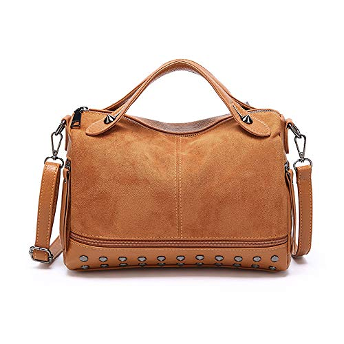 (Mn&Sue Baguette Doctor Style Rivet Studded Medium Top Handle Barrel Satchel Handbag Women Purse (Brown))