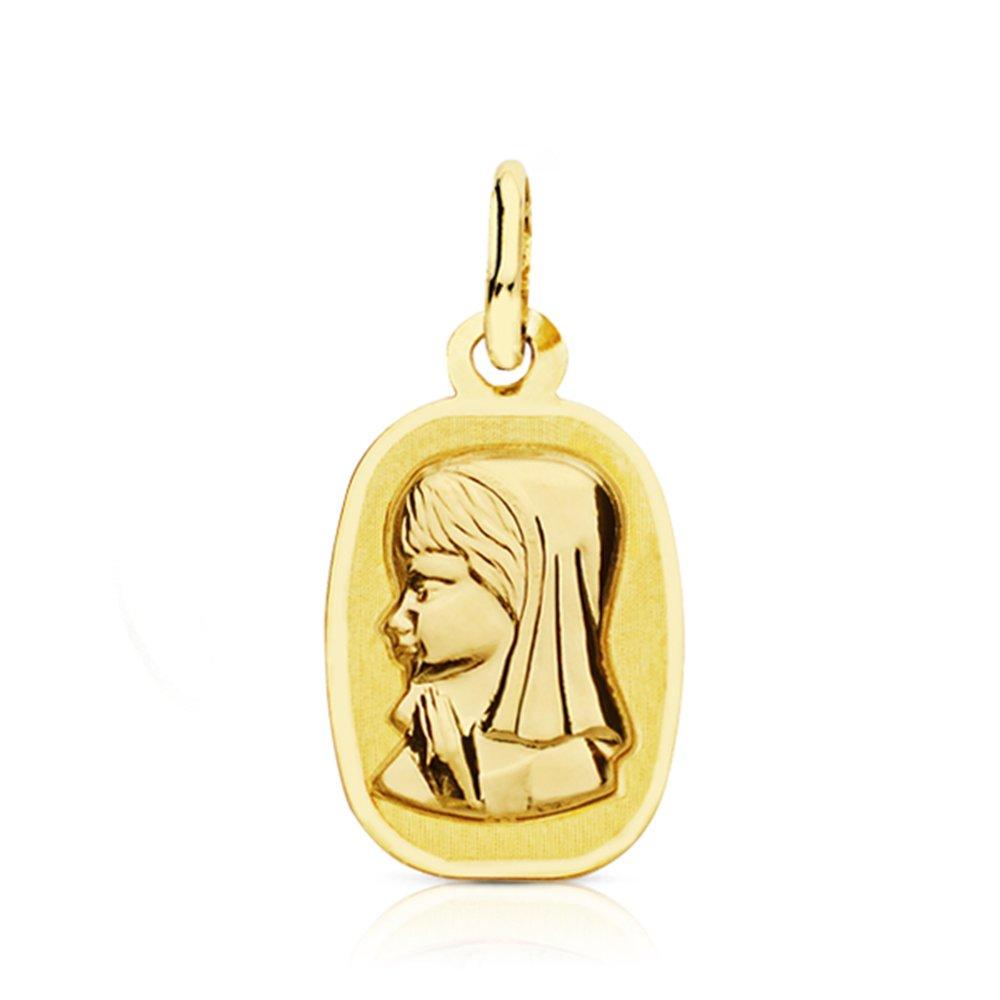 Médaille Vierge fille carrée Pendentif Or Jaune 18 ct Alda Joyeros 696