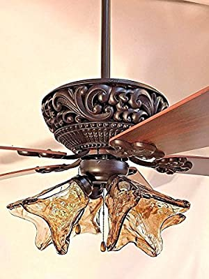 "60"" ORB oil rubbed bronze ceiling fan with 4 light amber hand blown glass"