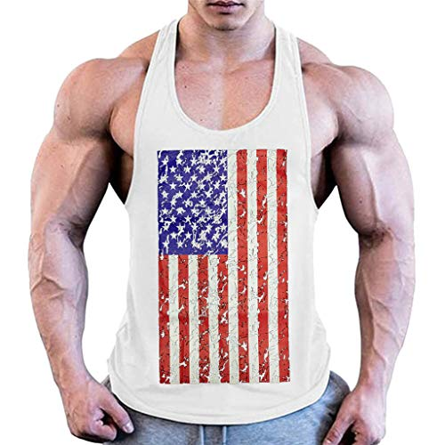 Men Patriotic Tank Tops,Toponly Athletic Boys Sleeveless Bodybuilding Tight-Drying American Flag Print Tees Muscle Sports Vest Tops Pullovers