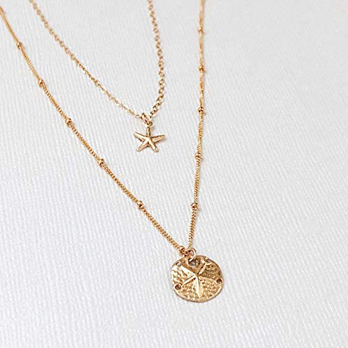 14k Gold Filled Starfish And Sand Dollar Dainty Necklace, 2 in 1 Necklace, Delicate Necklace, Simple Necklace, Layered Necklace, Everyday Necklace, Minimalist Jewelry, Bridesmaid Gift.