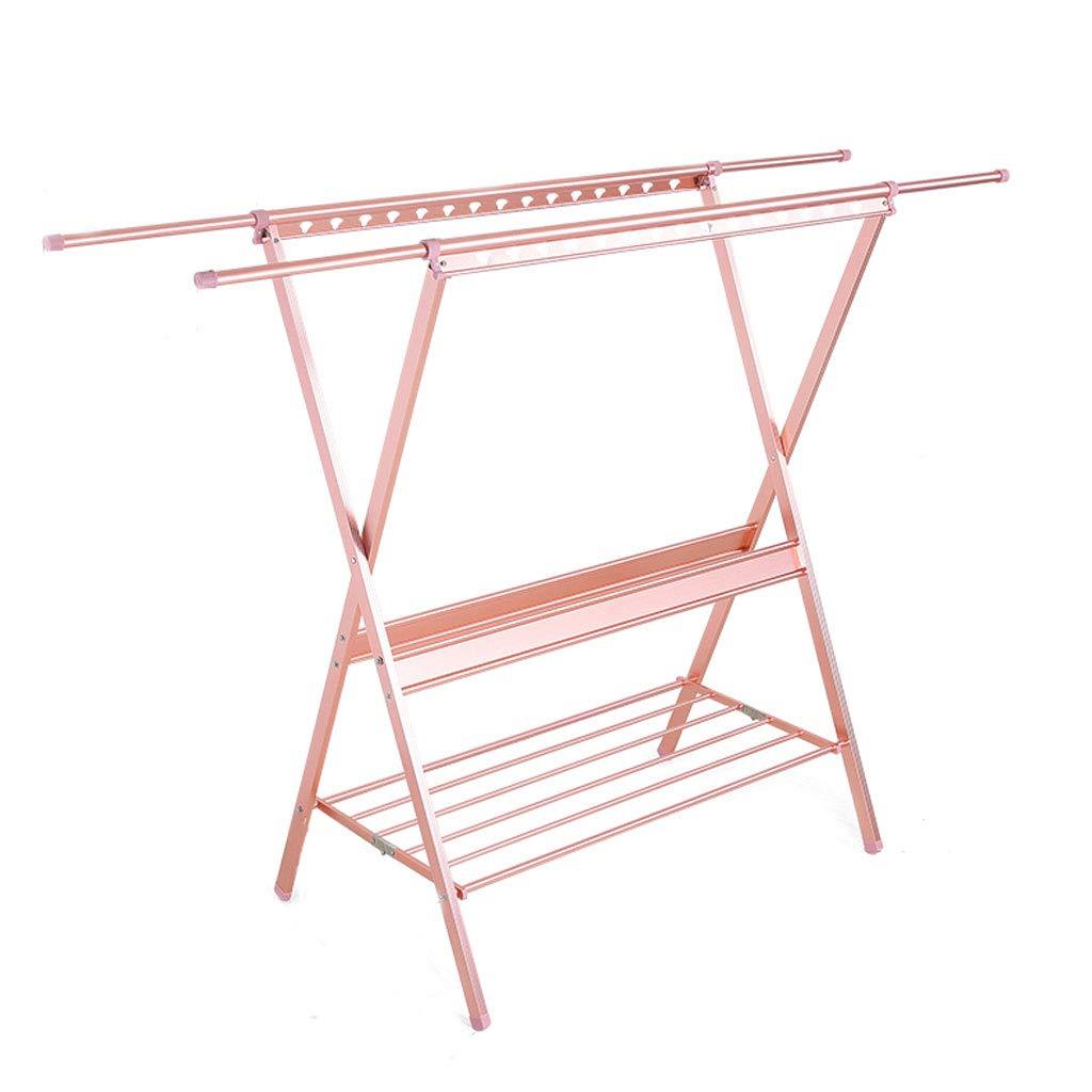 ZXW 乾燥ラック- 家庭用折りたたみダブルポール伸縮式バルコニー室内乾燥ラック (色 : Pink, サイズ さいず : 112x139cm) B07KPL9JCH Pink 112x139cm