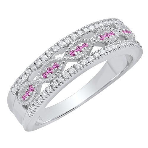 Dazzlingrock Collection Sterling Silver Round Pink Sapphire & White Diamond Ladies Vintage Wedding Band, Size 8