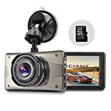"Dash Cam 3"" LCD FHD 1080P 170 Degree Wide Angle Dashboard Camera Car Recorder DVR with 8GB SD Card ,Night Vision, G-Sensor, WDR,Loop Recording"
