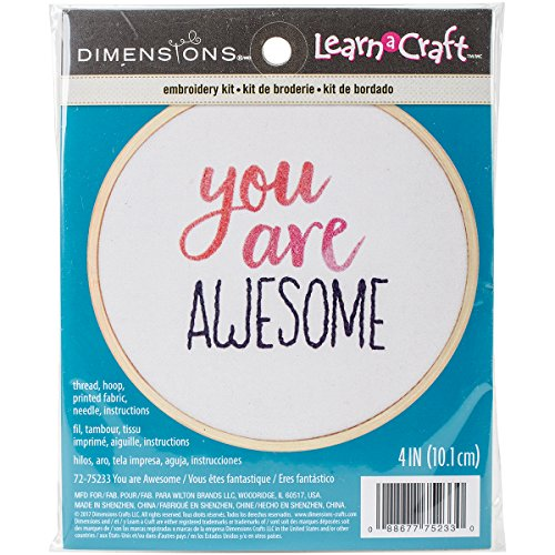 (Dimensions 'You Are Awesome' Inspirational Craft Mini Embroidery Kit for Beginners, 4'')