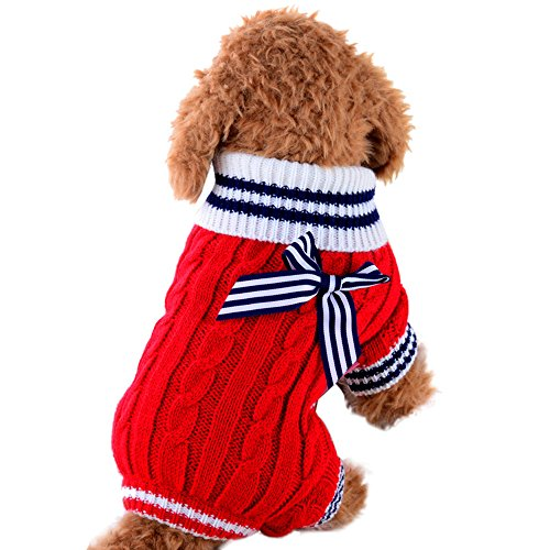 WEUIE Clearance Sale Pet Dog Sweater Dog Clothes Small Dogs Winter Sweaters Rompers (M,Red)