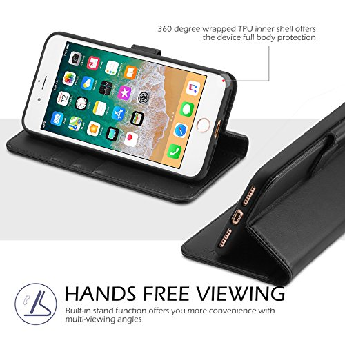 iPhone 8 Plus Wallet Case, iPhone 7 Plus Case, TUCCH Premium PU Leather Flip Folio Case with Card Slot, Cash Clip, Stand Holder and Magnetic Closure [TPU Shockproof Interior Protective Case], Black by TUCCH (Image #5)